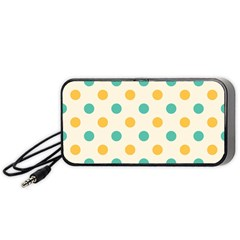 Polka Dot Yellow Green Blue Portable Speaker (black) by Mariart