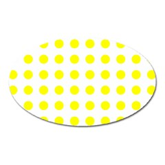 Polka Dot Yellow White Oval Magnet by Mariart
