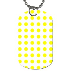 Polka Dot Yellow White Dog Tag (one Side) by Mariart