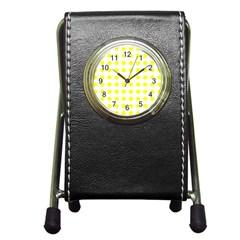 Polka Dot Yellow White Pen Holder Desk Clocks by Mariart