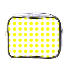 Polka Dot Yellow White Mini Toiletries Bags by Mariart