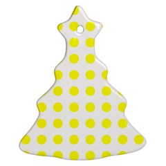 Polka Dot Yellow White Christmas Tree Ornament (two Sides) by Mariart