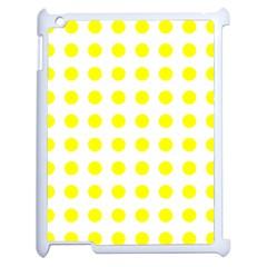 Polka Dot Yellow White Apple Ipad 2 Case (white) by Mariart