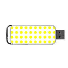 Polka Dot Yellow White Portable Usb Flash (one Side) by Mariart