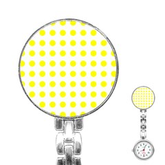Polka Dot Yellow White Stainless Steel Nurses Watch by Mariart