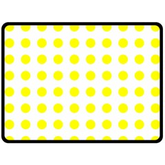Polka Dot Yellow White Double Sided Fleece Blanket (large)  by Mariart