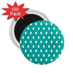 Polka Dots White Blue 2 25  Magnets (100 Pack)  by Mariart