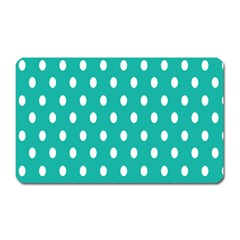 Polka Dots White Blue Magnet (rectangular) by Mariart