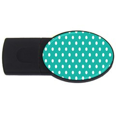 Polka Dots White Blue Usb Flash Drive Oval (2 Gb) by Mariart