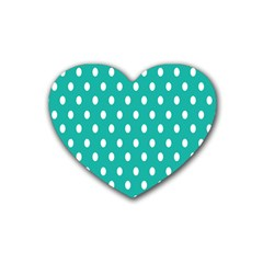 Polka Dots White Blue Rubber Coaster (heart)  by Mariart