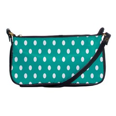 Polka Dots White Blue Shoulder Clutch Bags by Mariart
