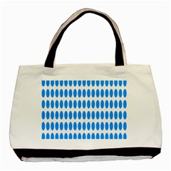 Polka Dots Blue White Basic Tote Bag (two Sides) by Mariart