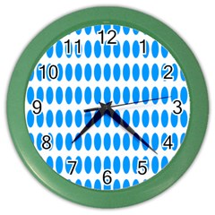 Polka Dots Blue White Color Wall Clocks by Mariart