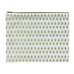 Polka Dots Gold Grey Cosmetic Bag (xl) by Mariart
