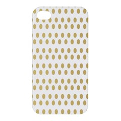 Polka Dots Gold Grey Apple Iphone 4/4s Premium Hardshell Case by Mariart