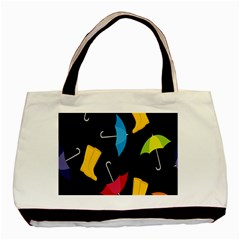 Rain Shoe Boots Blue Yellow Pink Orange Black Umbrella Basic Tote Bag (two Sides) by Mariart