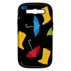Rain Shoe Boots Blue Yellow Pink Orange Black Umbrella Samsung Galaxy S Iii Hardshell Case (pc+silicone) by Mariart