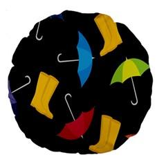 Rain Shoe Boots Blue Yellow Pink Orange Black Umbrella Large 18  Premium Round Cushions by Mariart