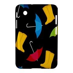 Rain Shoe Boots Blue Yellow Pink Orange Black Umbrella Samsung Galaxy Tab 2 (7 ) P3100 Hardshell Case  by Mariart