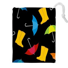 Rain Shoe Boots Blue Yellow Pink Orange Black Umbrella Drawstring Pouches (xxl) by Mariart