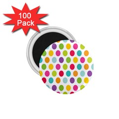 Polka Dot Yellow Green Blue Pink Purple Red Rainbow Color 1 75  Magnets (100 Pack)  by Mariart