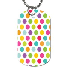 Polka Dot Yellow Green Blue Pink Purple Red Rainbow Color Dog Tag (two Sides) by Mariart