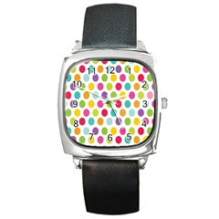 Polka Dot Yellow Green Blue Pink Purple Red Rainbow Color Square Metal Watch by Mariart