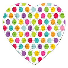 Polka Dot Yellow Green Blue Pink Purple Red Rainbow Color Jigsaw Puzzle (heart) by Mariart
