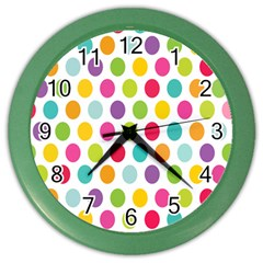 Polka Dot Yellow Green Blue Pink Purple Red Rainbow Color Color Wall Clocks by Mariart