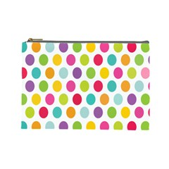 Polka Dot Yellow Green Blue Pink Purple Red Rainbow Color Cosmetic Bag (large)  by Mariart
