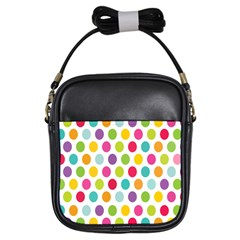 Polka Dot Yellow Green Blue Pink Purple Red Rainbow Color Girls Sling Bags by Mariart