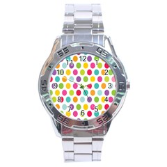 Polka Dot Yellow Green Blue Pink Purple Red Rainbow Color Stainless Steel Analogue Watch by Mariart