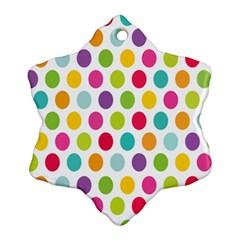 Polka Dot Yellow Green Blue Pink Purple Red Rainbow Color Ornament (snowflake) by Mariart