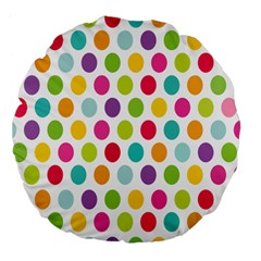 Polka Dot Yellow Green Blue Pink Purple Red Rainbow Color Large 18  Premium Flano Round Cushions by Mariart