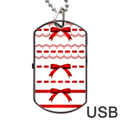 Ribbon Red Line Dog Tag Usb Flash (two Sides) by Mariart