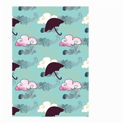 Rain Clouds Umbrella Blue Sky Pink Small Garden Flag (two Sides) by Mariart