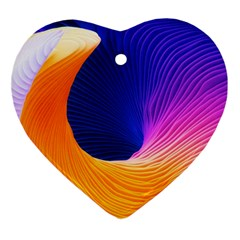 Wave Waves Chefron Color Blue Pink Orange White Red Purple Ornament (heart) by Mariart