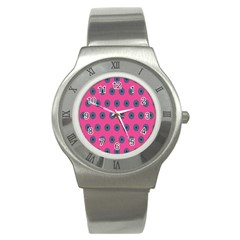 Polka Dot Circle Pink Purple Green Stainless Steel Watch by Mariart