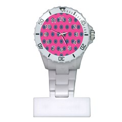 Polka Dot Circle Pink Purple Green Plastic Nurses Watch by Mariart