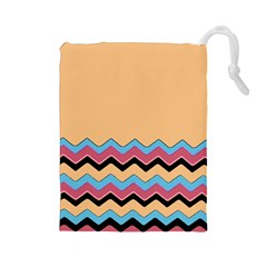 Chevrons Patterns Colorful Stripes Background Art Digital Drawstring Pouches (large)  by Simbadda