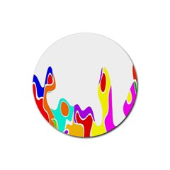 Simple Abstract With Copyspace Rubber Coaster (round)  by Simbadda