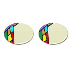 Digitally Created Abstract Page Border With Copyspace Cufflinks (oval) by Simbadda