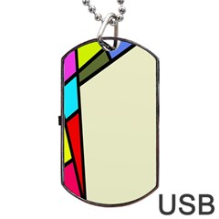 Digitally Created Abstract Page Border With Copyspace Dog Tag Usb Flash (one Side) by Simbadda