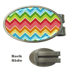 Colorful Background Of Chevrons Zigzag Pattern Money Clips (oval)  by Simbadda