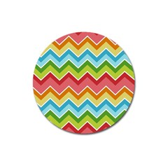 Colorful Background Of Chevrons Zigzag Pattern Magnet 3  (round) by Simbadda