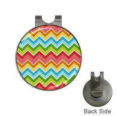 Colorful Background Of Chevrons Zigzag Pattern Hat Clips With Golf Markers by Simbadda