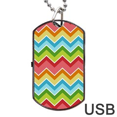 Colorful Background Of Chevrons Zigzag Pattern Dog Tag Usb Flash (one Side) by Simbadda