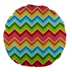 Colorful Background Of Chevrons Zigzag Pattern Large 18  Premium Flano Round Cushions by Simbadda