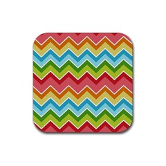 Colorful Background Of Chevrons Zigzag Pattern Rubber Square Coaster (4 Pack)  by Simbadda