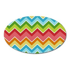 Colorful Background Of Chevrons Zigzag Pattern Oval Magnet by Simbadda